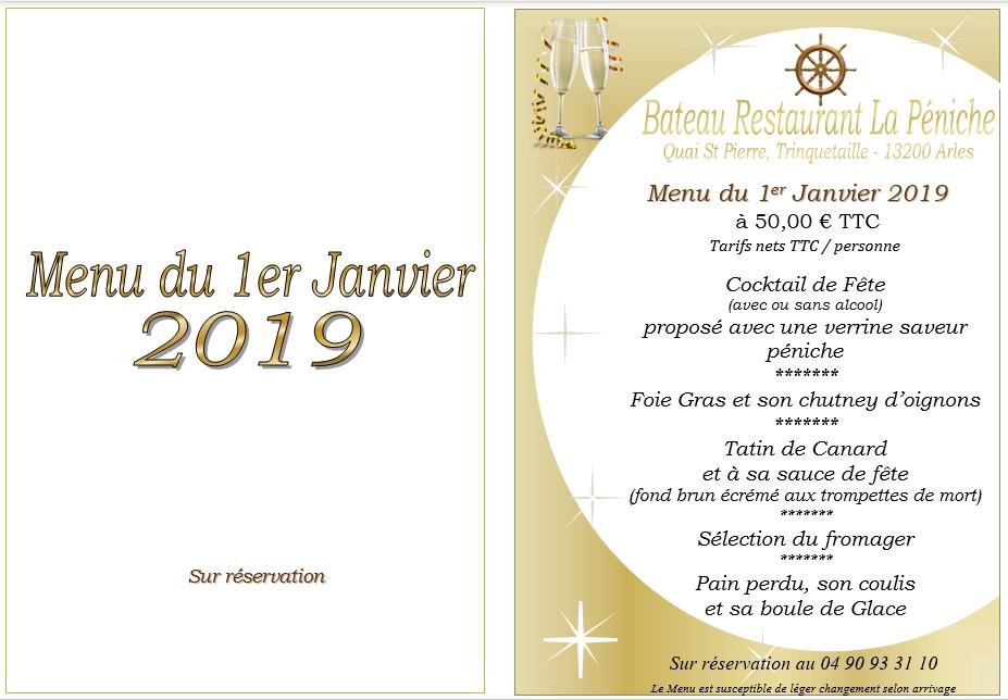 Menu du 1er Janvier 2019_La Péniche